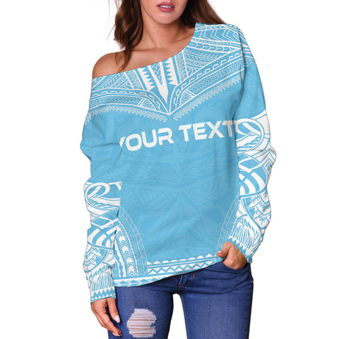 Image of Fiji Polynesian Chief Custom Personalised Women's Off Shoulder Sweater - Flag Version - Polynesian Apparel, Poly Clothing, Women Sweater