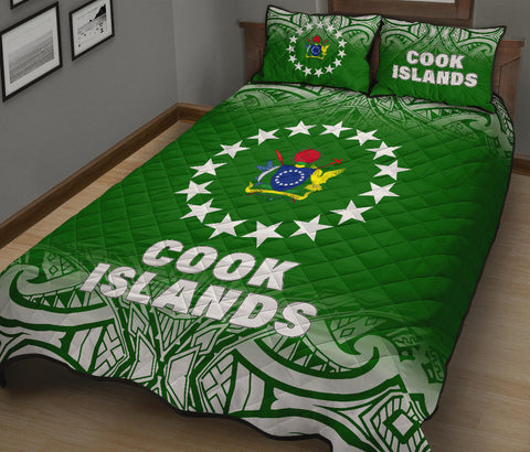 Cook Islands Quilt Bed Set - Fog Style  - Polynesian Green- BN12