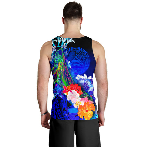 American Samoa Polynesian Custom Personalised Men's Tank Top - Humpback Whale with Tropical Flowers (Blue)- BN18