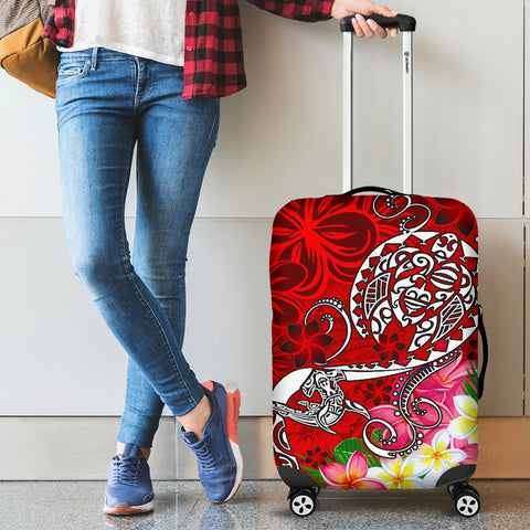 Polynesian Luggage Covers - Turtle Plumeria Red Color