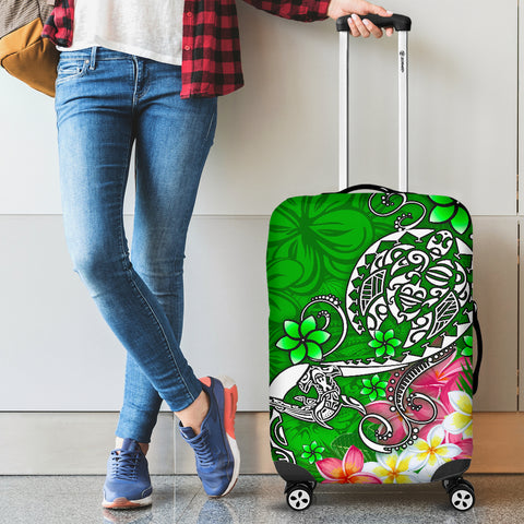 Image of Polynesian Luggage Covers - Turtle Plumeria Green Color