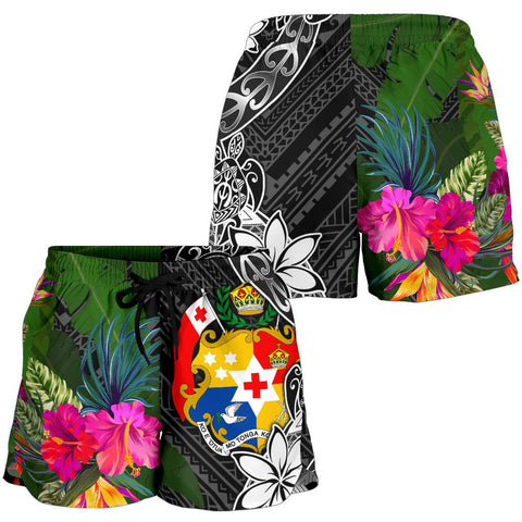 Tonga Women Shorts - Turtle Plumeria Banana Leaf - BN11