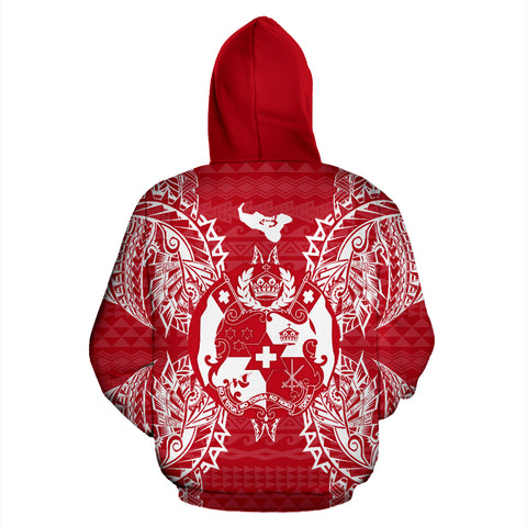 Tonga Polynesian All Over Zip Up Hoodie Map Red White - BN39