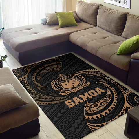 Samoa Polynesian Area Rug - Gold Tribal Wave - BN12