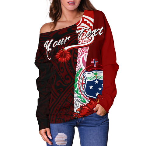 Samoa Polynesian Custom Personalised Women's Off Shoulder Sweater - Coat Of Arm With Hibiscus - BN12