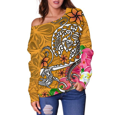 Polynesian Women's Off Shoulder Sweater - Turtle Plumeria Gold Color - BN18