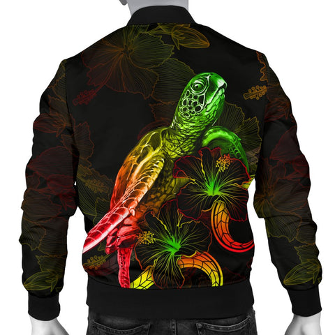 Hawaii Polynesian Men's Bomber Jacket - Turtle With Blooming Hibiscus Reggae