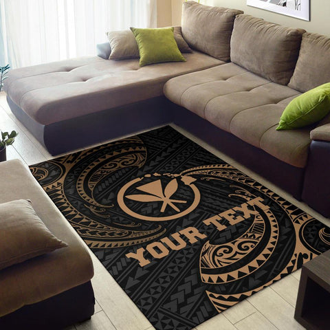 Hawaii Polynesian Custom Personalised Area Rug - Gold Tribal Wave - BN12