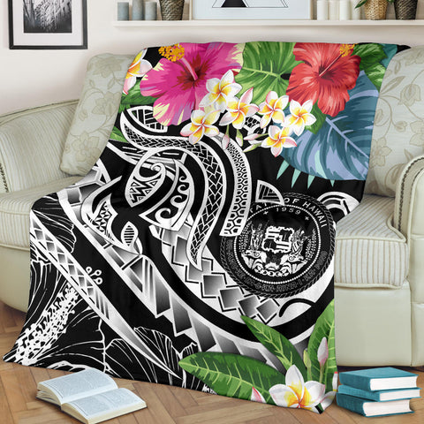 Polynesian Hawaii Premium Blanket - Summer Plumeria (Black)