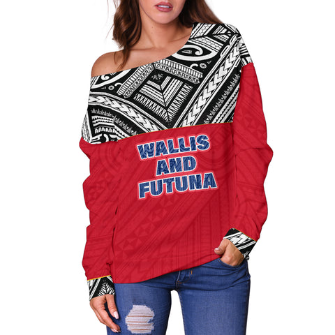 Wallis And Futuna Women's Off Shoulder Sweater - Polynesian Design Front