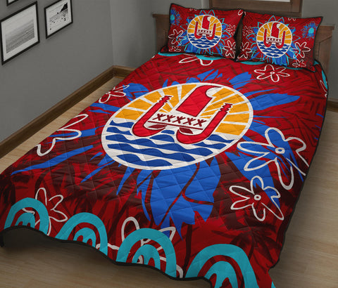Image of Tahiti Coat Of Arms Polynesian Quilt Bed Set Set - BN12