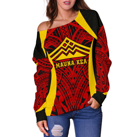 Image of Hawaii Women's Off Shoulder Sweater - Protect Mauna Kea - BN11