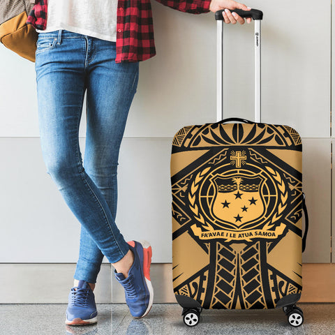Image of Samoa Polynesian Luggage Covers - Samoa Gold Seal with Polynesian Tattoo