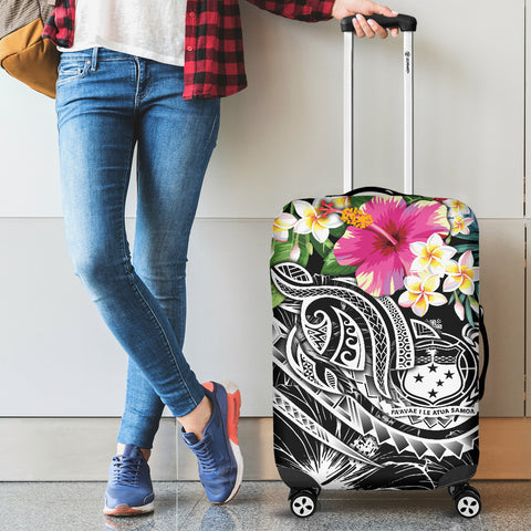 Polynesian Samoa Luggage Covers - Summer Plumeria (Black)