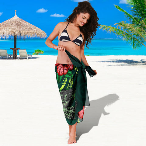 Image of Solomon Islands Polynesian Sarong - Green Turtle Hibiscus - BN12