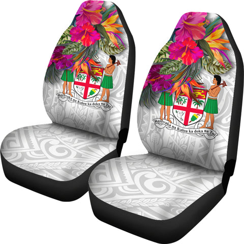Fiji Polynesian Car Seat Covers - Hibiscus White Pattern - BN39