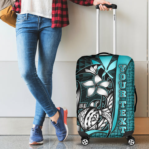 Polynesian Hawaii Custom Personalised Luggage Covers Turquoise - Turtle with Hook