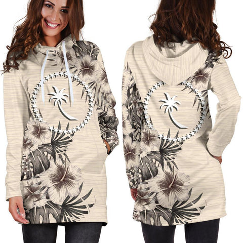 Chuuk Hoodie Dress - The Beige Hibiscus A7