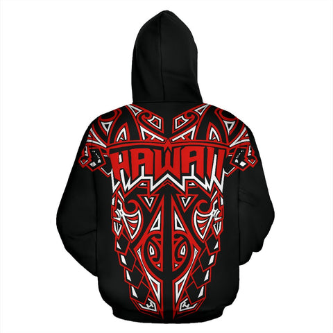 Image of Hawaii Hoodie With Polynesian Tattoo K5 - Red 1ST
