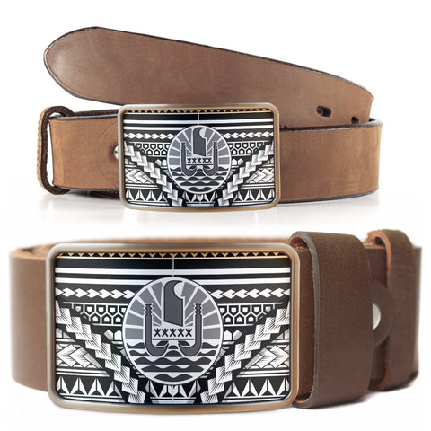 Image of French Polynesia  Belt Buckle - Curve Style