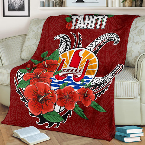 Image of Tahiti Polynesian Premium Blanket - Hibiscus Coat of Arm Red