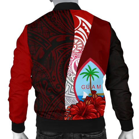 Image of Guam Polynesian Men's Bomber Jacket - Coat Of Arm With Hibiscus - BN12