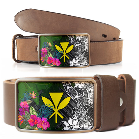 Hawaii Belt Buckle - Turtle Plumeria Banana Leaf