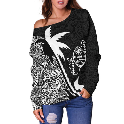 Guam Coconut Tree Off Shoulder Sweater White K4 1ST