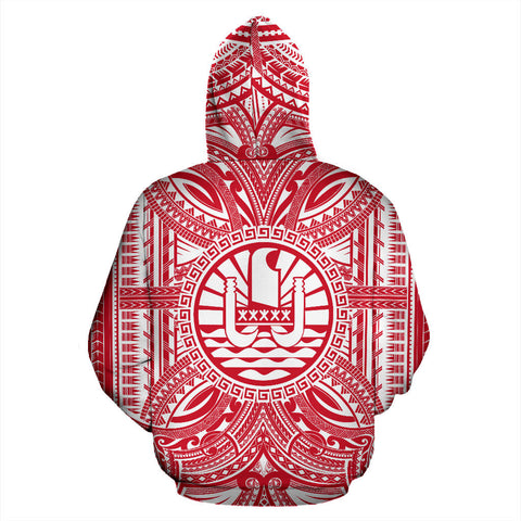 Tahiti All Over Hoodie - Tahiti Coat Of Arms Polynesian Flag Color Bn10