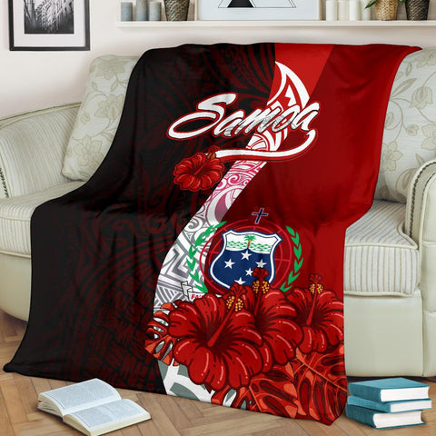 Image of Samoa Polynesian Premium Blanket - Coat Of Arm With Hibiscus