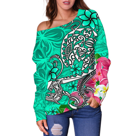 Polynesian Women's Off Shoulder Sweater - Turtle Plumeria Turquoise Color - BN18