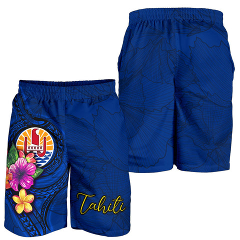 Image of Tahiti Polynesian Men's Shorts - Floral With Seal Blue - BN12
