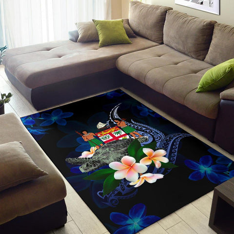Fiji Polynesian Area Rug - Turtle With Plumeria Flowers - BN12