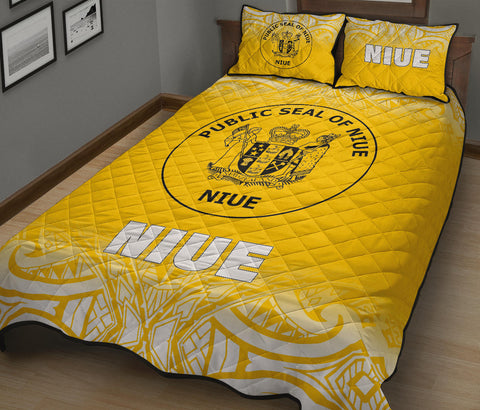 Image of Niue Polynesian Quilt Bed Set - Fog Yellow Style - BN12