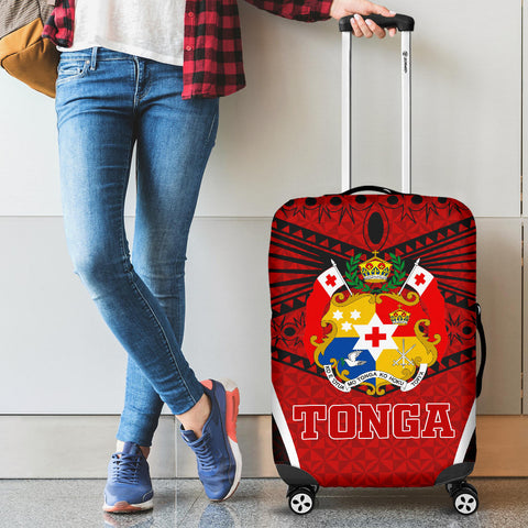 Tonga Polynesian Luggage Covers - Red Pattern - BN12