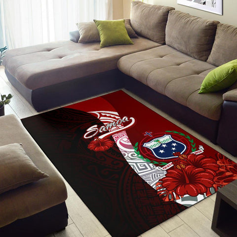 Samoa Polynesian Area Rug - Coat Of Arm With Hibiscus - BN12