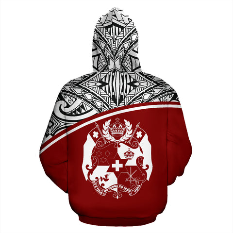 Tonga All Over Custom Personalised Hoodie - Red Curve - BN09