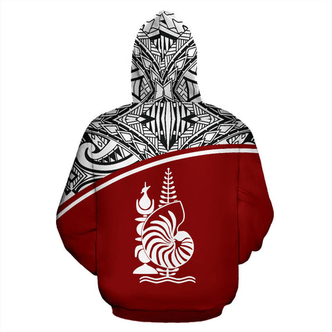 New Caledonia Polynesian All Over  Custom Personalised Zip-Up Hoodie - Red Curve Version - BN12