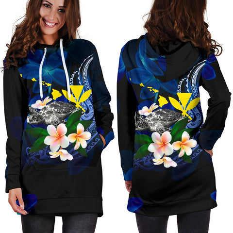 Polynesian Hawaii Women's Hoodie Dress - Turtle With Plumeria Flowers - BN12