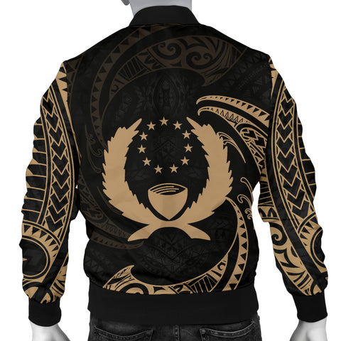 Pohnpei Micronesia Men's Bomber Jacket - Gold Tribal Wave - BN12