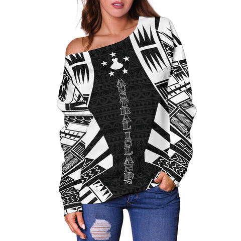 Austral Islands Women's Off Shoulder Sweater - Polynesian Tattoo Black - BN0110