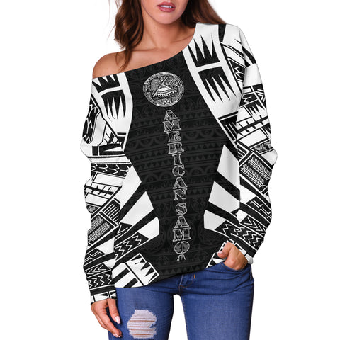Image of American Samoa Women's Off Shoulder Sweater - Polynesian Tattoo Black - BN0110