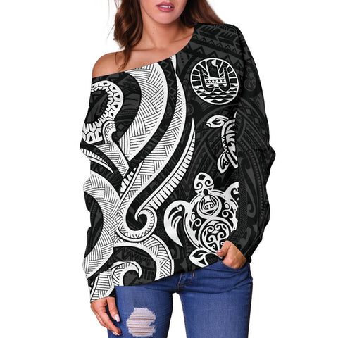 Tahiti Polynesian Women Of Shoulder Sweater - White Tentacle Turtle - BN11