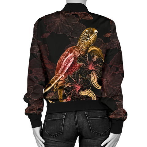 Samoa Polynesian Women's Bomber Jacket - Turtle With Blooming Hibiscus Gold