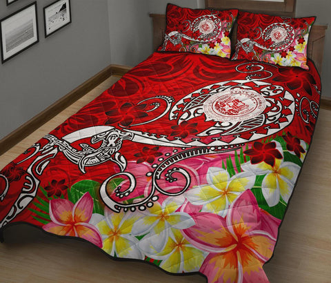 Hawaii Polynesian Quilt Bed Set - Hawaii Seal With Turtle Plumeria (Red)