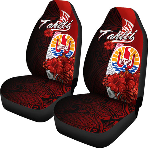 Tahiti Polynesian Car Seat Covers - Coat Of Arm With Hibiscus - BN12