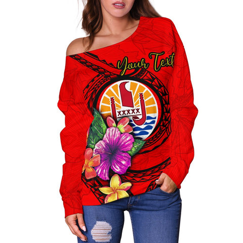 Tahiti Polynesian Custom Personalised Women's Off Shoulder Sweater - Floral With Seal Red - BN12
