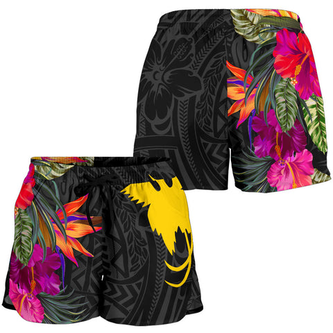 Papua New Guinea All Over Print Women's Shorts - Hibiscus Polynesian Pattern