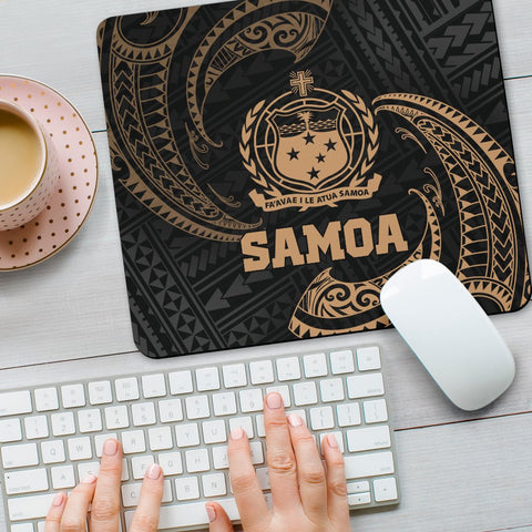 Samoa Polynesian Mouse Pad - Gold Tribal Wave - BN12