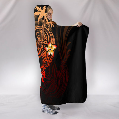 Image of Guam Polynesian Hooded Blanket - Plumeria Flowers And Waves - BN12